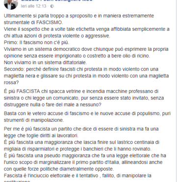 Anche M5S difende Skinheads di Como: «Fascisti sono quelli al governo»