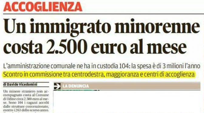 Ogni piccolo migrante ci costa 2.500 euro al mese fino ai 18 anni