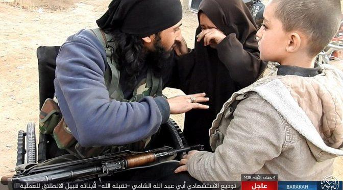 Terrorista islamico in sedia a rotelle dice addio ai figli prima di andare a farsi esplodere – VIDEO