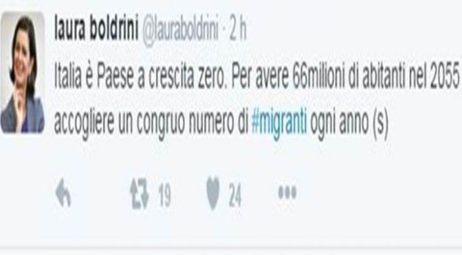 """Boldrini pubblica bufala su se stessa: """"Mai detto vadano accolti tutti"""""""