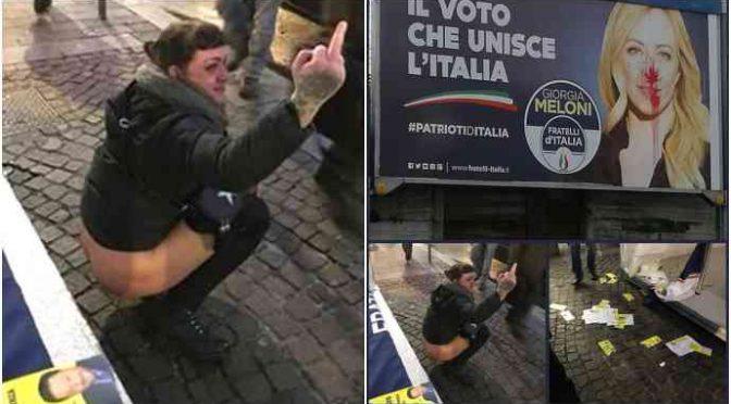 Antifà assaltano banchetto Meloni, sinistrata urina su bandiera