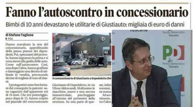 Pisa: Rom ospiti del comune distruggono auto concessionario – VIDEO