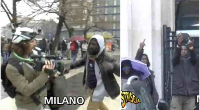 Brumotti aggredito da spacciatori africani a Milano – IL VIDEO