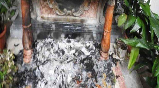Chiesa incendiata in Friuli, altare distrutto