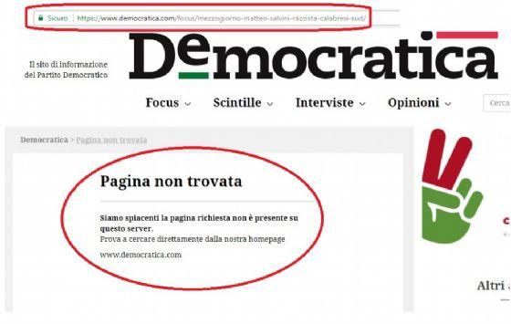 Sito PD diffonde bufala su Salvini, poi la cancella