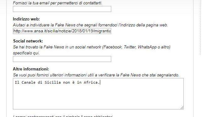 Ansa sposta il Canale di Sicilia in Africa, segnaliamo la Fake News alle spie di Minniti