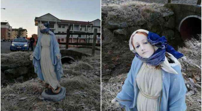 Madonna decapitata abbandonata in un fosso