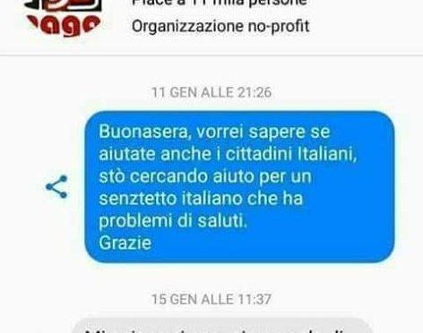 """Cerca aiuto per senzatetto italiano: """"Aiutiamo solo immigrati"""""""