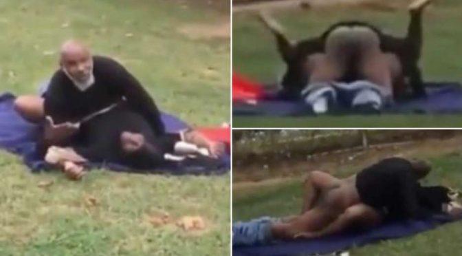 Coppia islamica fa sesso al parco davanti a tutti
