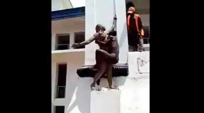 Risorsa africana si arrampica e molesta statua – VIDEO