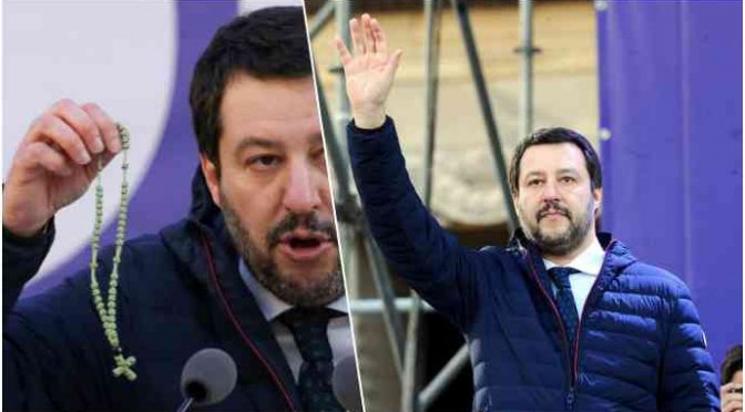 SALVINI GIURA DA PREMIER IN PIAZZA COL ROSARIO IN MANO – VIDEO