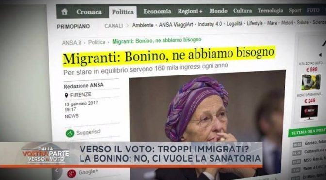 Bonino delinea governo CSX: 760mila immigrati il primo anno