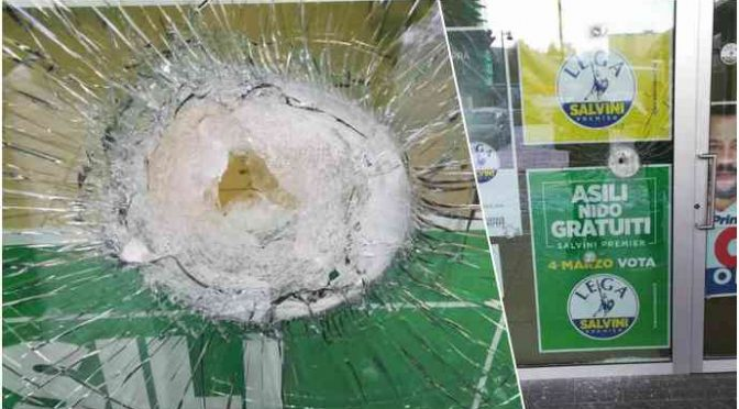 Teppisti rossi vandalizzano centro elettorale Salvini, vetri rotti