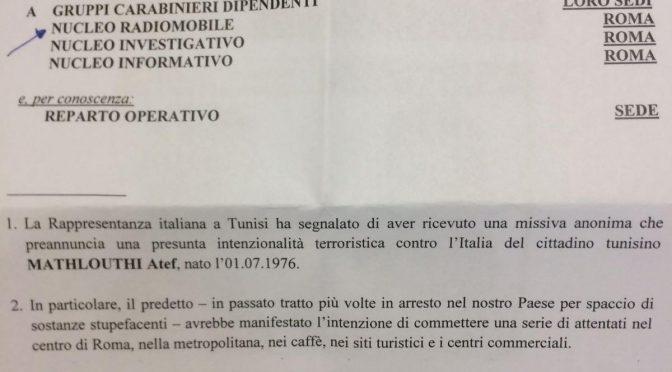 TERRORISTA TUNISINO RICERCATO A ROMA, ECCO NOTA CARABINIERI