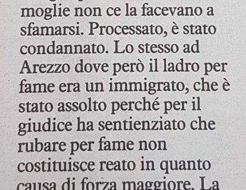 Rubano per fame: italiano condannato, migrante assolto