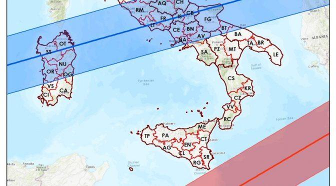 Stazione spaziale cinese: mappa aggiornata zone italiane a rischio