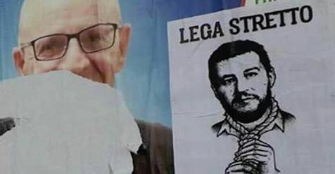 Salvini 'impiccato' a Imola, teppisti rossi scatenati