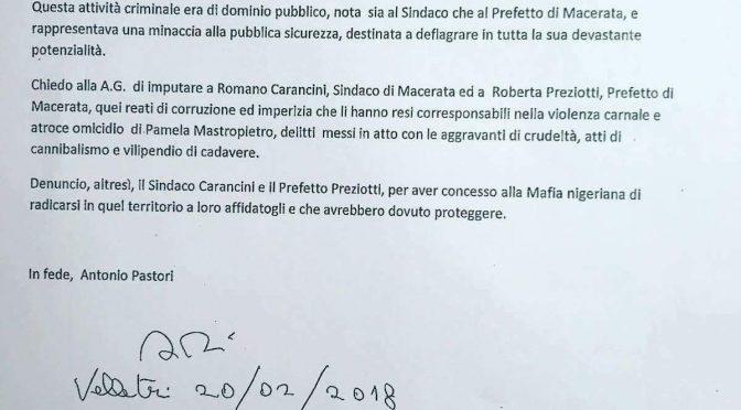 """Macerata, cittadino denuncia Sindaco e Prefetto: """"Complici Mafia Nigeriana"""""""