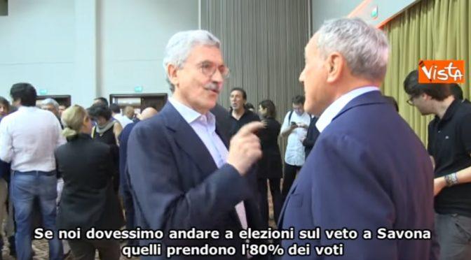 """Fuorionda di D'Alema: """"Se torniamo a elezioni per veto a Savona, Salvini piglia l'80%"""" – VIDEO"""