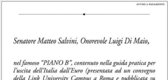 Lupo, erede Agnelli compra pagina su Repubblica per difendere l'Euro