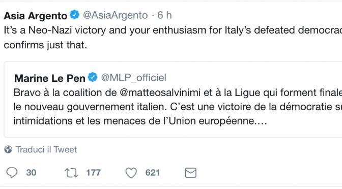 """Asia Argento sclera su Twitter: """"Hanno vinto i neonazisti"""""""