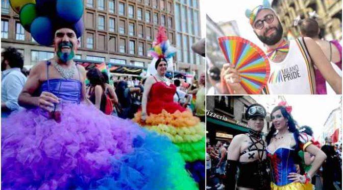 Sfilano i gay a Milano: in testa Sala e i bambini, sponsorizza Facebook