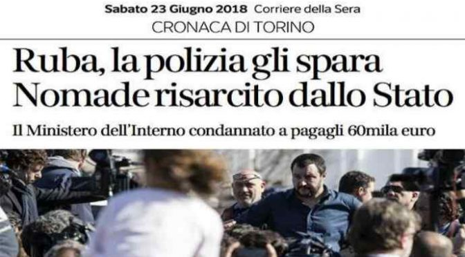 Polizia spara a zingaro in fuga, risarcito con 60mila euro