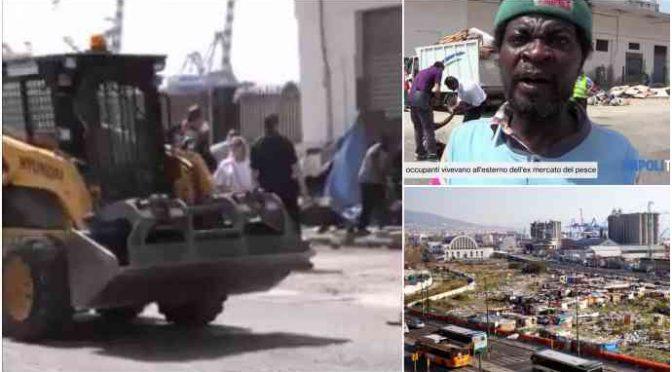 Salvini sale sulla ruspa: rasa al suolo prima baraccopoli di clandestini – VIDEO