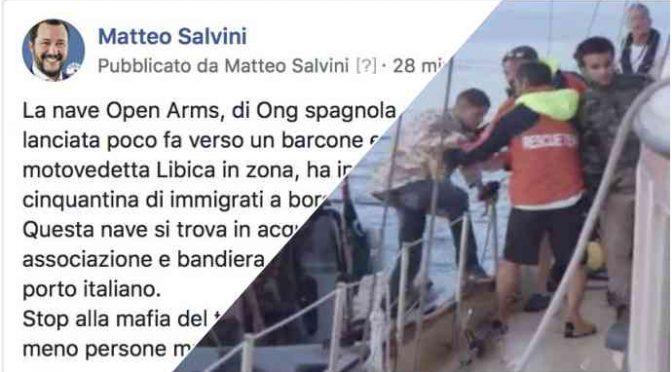 "Ong ruba 59 clandestini a militari libici, Salvini: ""Ora andate in Spagna"""