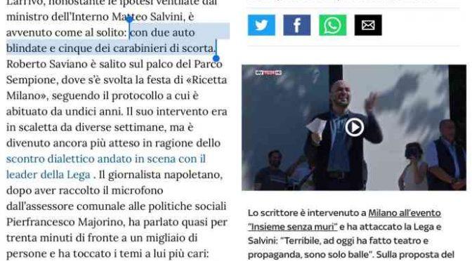 Saviano: 7 auto di scorta per portarlo alla festa del PD
