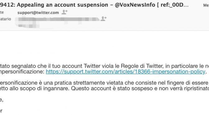 Twitter sospende Vox perché impersonifica Vox