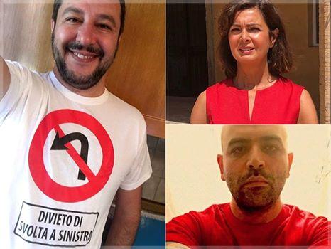 Salvini asfalta Saviano e Boldrini con questa maglietta