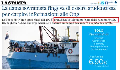 La Stampa accusa Francesca Totolo di avere indagato troppo bene le Ong