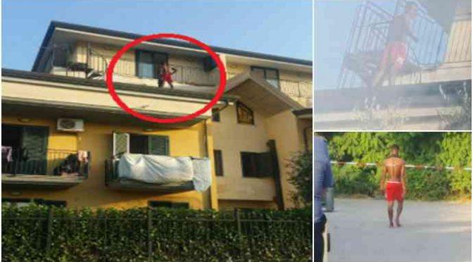 Profugo minaccia di lanciarsi dal balcone, poi attacca passanti armato