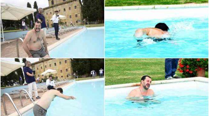 Salvini fa il bagno nella piscina del boss confiscata alla mafia