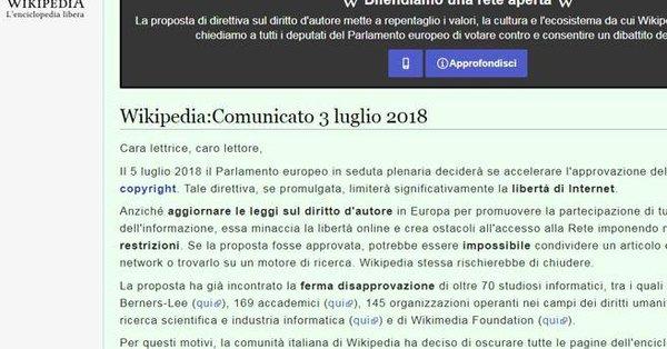 Anche Wikipedia si oscura per protesta contro la censura UE