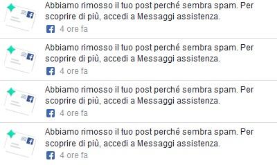 EMERGENZA: Facebook cancella post, li segnala come spam