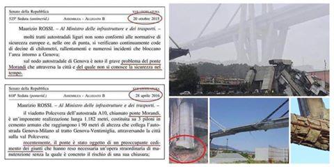 Nel 2016 denuncia su rischi ponte Morandi: governo non fece nulla