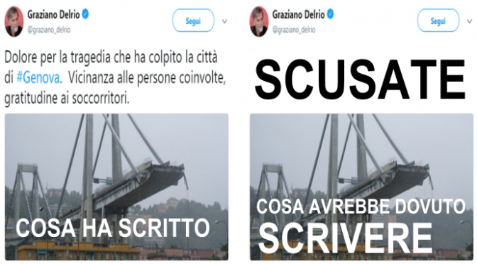 Crollo Genova, Delrio non si scusa