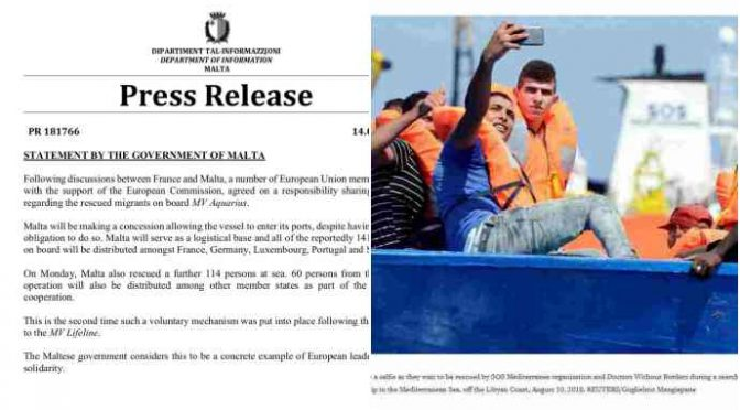 Aquarius, ufficiale: sbarcherà i 141 clandestini a Malta