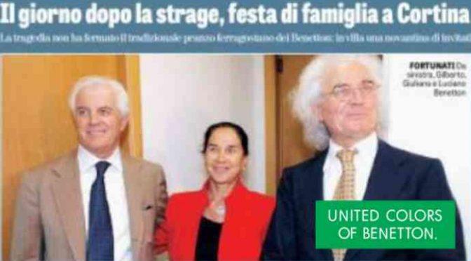Mentre si contavano i morti, Benetton festeggiavano a Cortina