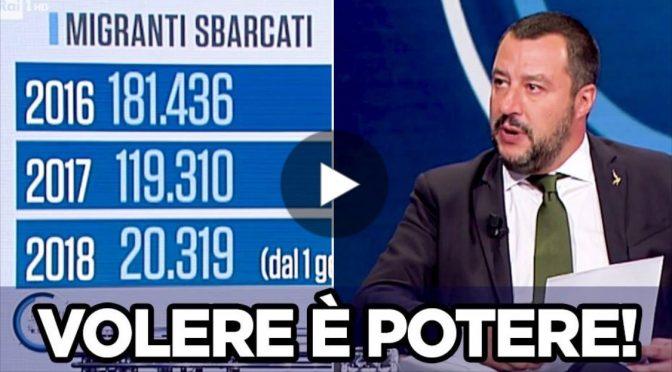 """Salvini esulta: """"Con me 40mila sbarchi in meno"""" – VIDEO"""