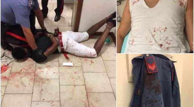 Immigrato scatenato ferisce 3 militari, sangue ovunque