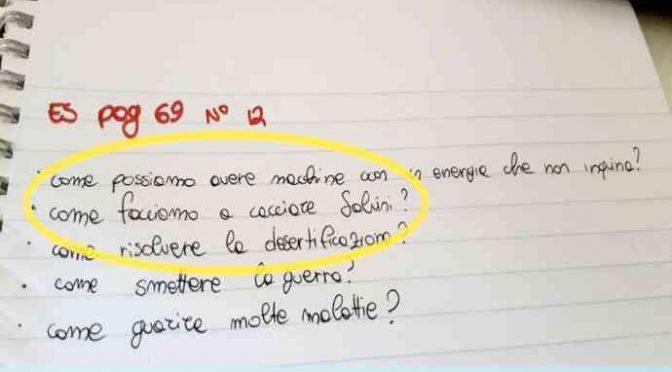 """Compito in classe choc: """"Come cacciare Salvini"""""""