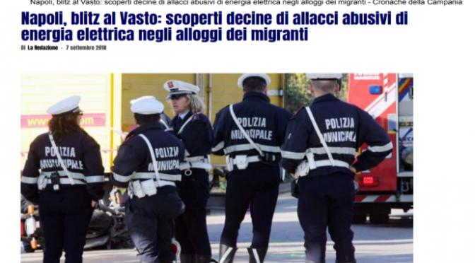 Napoli, i migranti non pagano la corrente
