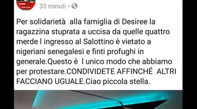 """Dopo morte Desirée, vietato ingresso a nigeriani e senegalesi"""