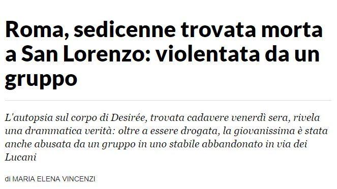 """Il silenzio mediatico sugli stupratori di Desirée: """"Stuprata da un gruppo…"""""""