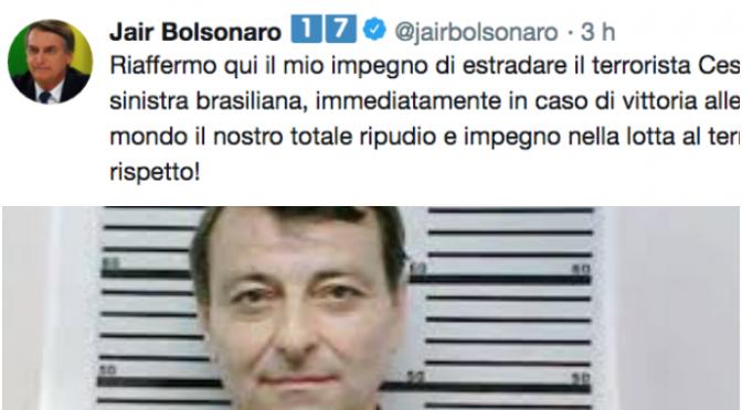 """Bolsonaro: """"Terrorista Battisti in Italia appena eletto"""""""