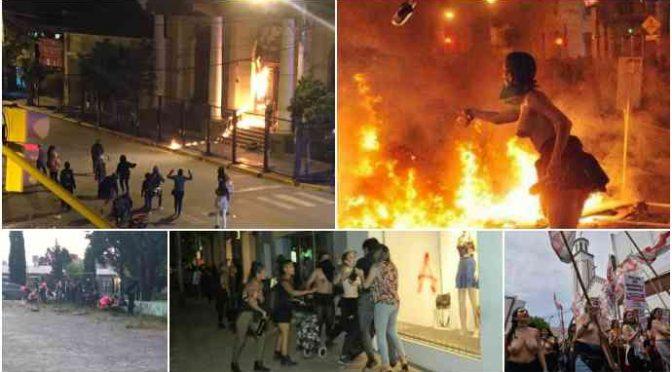 Femministe fanatiche bruciano chiese, picchiano famiglie – VIDEO
