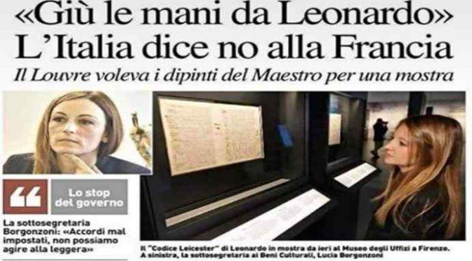 Pd aveva promesso opere Leonardo alla Francia: Lega blocca tutto